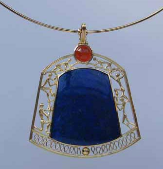 Lapis Lazuli and carnelian Pendant by Tony Williams